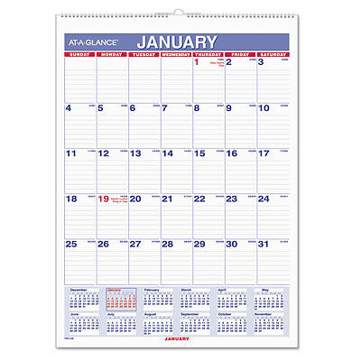 At-A-Glance Monthly Wall Calendar with Ruled Daily Blocks 8 x 11 White 2017
