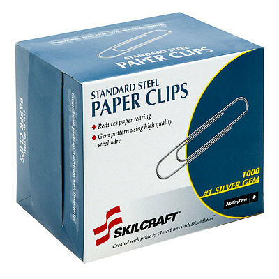 Skilcraft Paper Clips Standard No.1 Size 1000/BX Silver 1614292