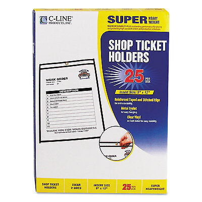 "C-Line Shop Ticket Holders Stitched Both Sides Clear 75"" 9 x 12 25/BX 46912"