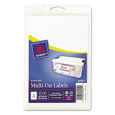 Avery Removable Multi-Use Labels 6 x 4 White 40/Pack 05454