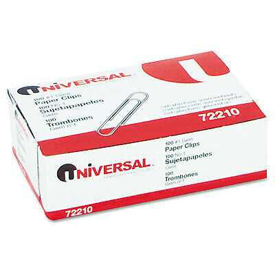 Universal Paper Clips Smooth Finish No. 1 Silver 100/Box 72210BX