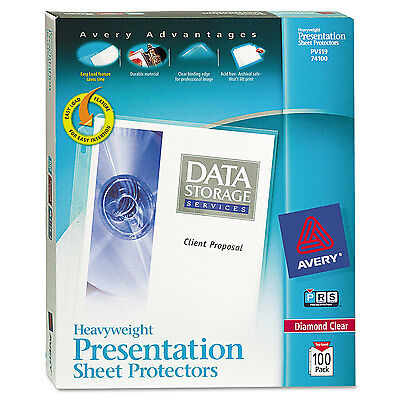 Avery Top-Load Poly Sheet Protectors Heavy Gauge Letter Diamond Clear 100/Box
