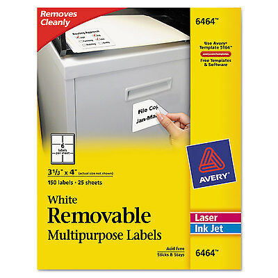 Avery Removable Multi-Use Labels 3 1/3 x 4 White 150/Pack 6464