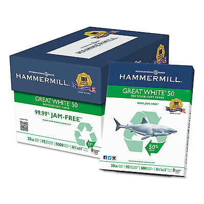 Hammermill Great White 50 Recycled Copy Paper 20-lb. 8-1/2 x 11 White 5000