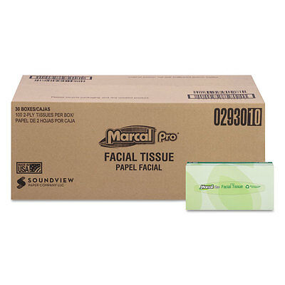 Marcal PRO 100% Recycled Convenience Pack Facial Tissue White 100/Box 30 Boxes