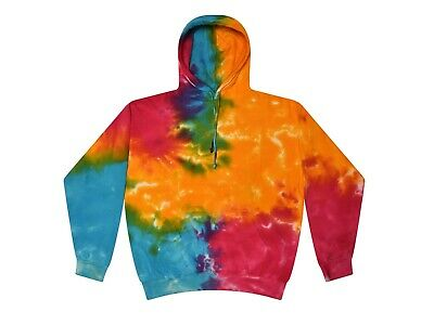 Multi-Color Tie Dye Hoodie Sweats S-3XL Long Sleeve Pockets Cotton Colortone