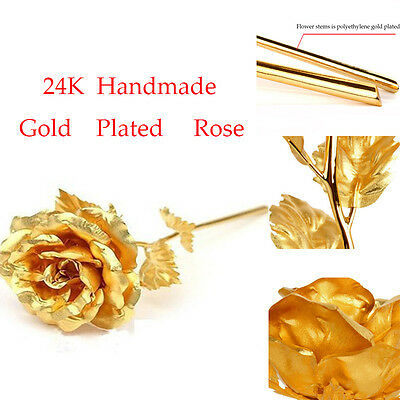 New 24K Dipped Gold Foil Rose Wedding Valentine's Day Lovers Gifts With Package