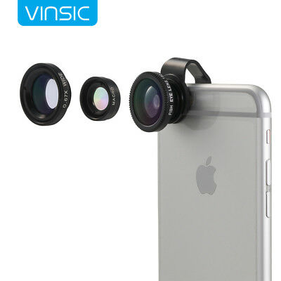 Universal 3 in1 Camera Lens 235° Fish Eye+0.4x Wide Angle+Macro for Smart Phone