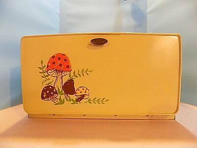 Vintage Tin Breadbox w/ Shelf Mushrooms
