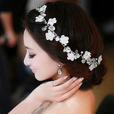 Bridal Wedding Flower Pearl Crystal Hair Comb Headband  Hair Clip Accessories
