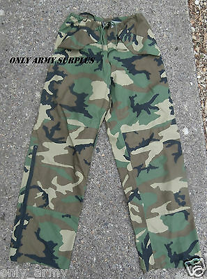 Genuine US Army GORETEX Trouser Woodland Camo ECWCS Waterproof Over Trouser