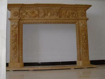 Hand Carved Marble Fireplace Mantel includes Grapes and Leaves in Design