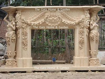 Elaborate Hand Carved Marble Fireplace Mantel in Egyptian Yellow, Large Statues