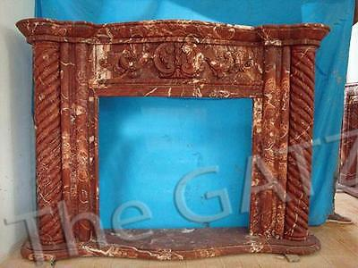 Marvelous Marble Fireplace Mantel with Twisted Column Carvings, Red Marble