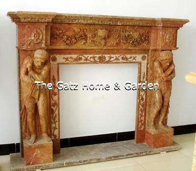 Attractive Marble Fireplace Mantel, #4292 Figural with Heavy Carving
