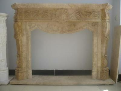 Hand Carved Marble Mantel with Carved Clam Shell and Floral Design