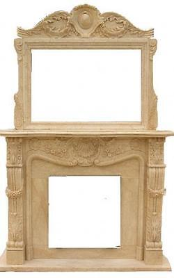 French Inspired Hand Carved Marble Fireplace Mantel and Large Over Mantel