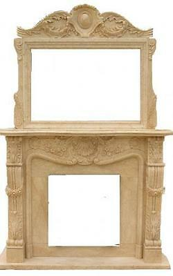 French Inspired Hand Carved MarbleFireplace Mantel and Large OverMantel