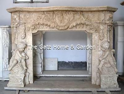 Hand Carved Marble Fireplace Mantel Cherubs at Play