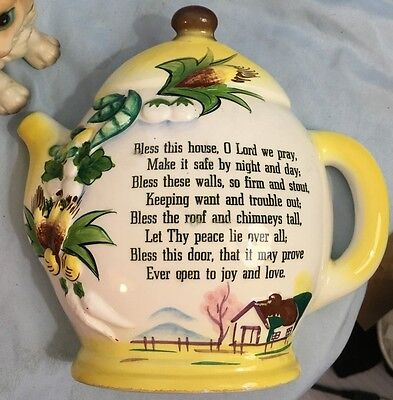 Vintage Japan Teapot Bless this House Wall Pocket
