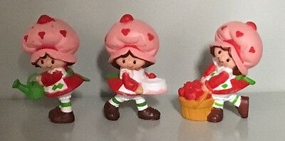 3 Different Vintage 1980s Strawberryland-STRAWBERRY SHORTCAKE PVC Mini Figures