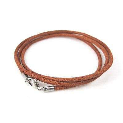 Natural Brown Leather Wristband Straps Bracelet Silver Stainless Lobster Clasp