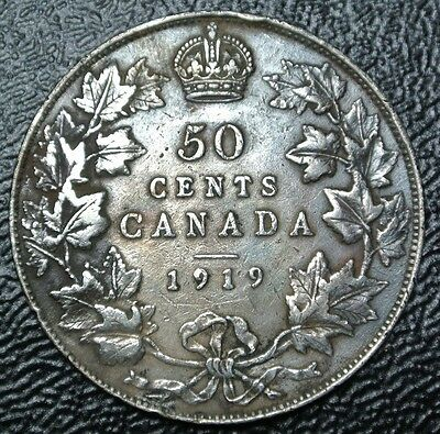 OLD CANADIAN COIN 1919 - 50 CENTS - .925 SILVER - George V-WWI era- Nice Details