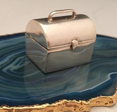 Unique Lunchbox Toolbox Pill / Snuff Box .925 Sterling Silver c1950 AUSTRIA L012