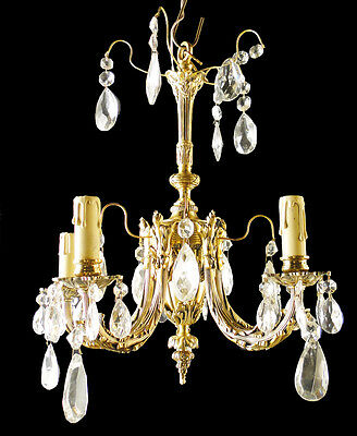 Antique French Louis XV style bronze and glass chandelier