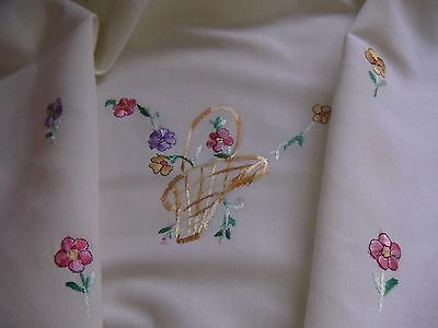 "Vintage Linen/ Cotton Embroidered ""Flower Baskets"" Rectangular Tablecloth"