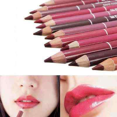 12 PCS Set Mixed Colour Pro Lipliner Waterproof Lip Liner Pen Pencil Makeup Tool