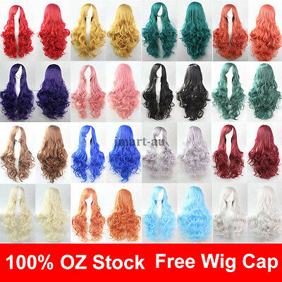 Womens 80cm Long Wavy Curly Hair Synthetic Cosplay Full Wig Wigs Party cos