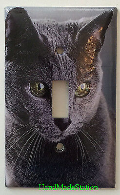 Azul Ruso Cat Toggle Rocker Light Switch & Power Duplex Outlet Cover Plate