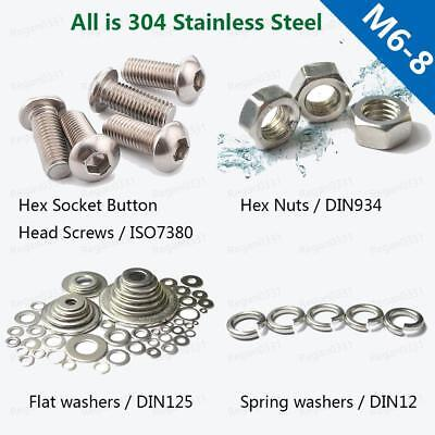M6 M8 Stainless BUTTON HEAD Hex Socket Screw Bolt Nut Flat Washer Spring Washer