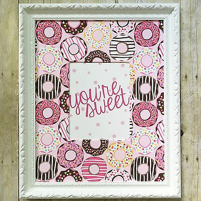 Girl Pink Nursery Decor, Pink Donut Nursery Print And Fabric Covered Mat - 16x20