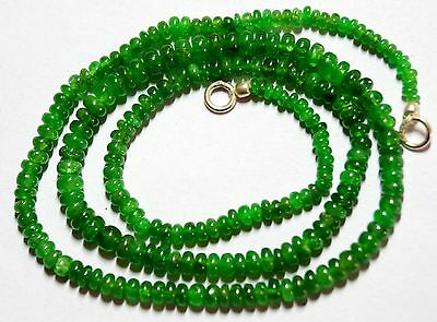 """56Cts. 16.5"""" 2-4 Mm Natural Gem Stone Tsavorite Smooth Roundelle Beaded Necklace"""