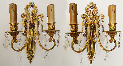 Antique French bronze cristal pair of sconces solid chiseled and polished bronze
