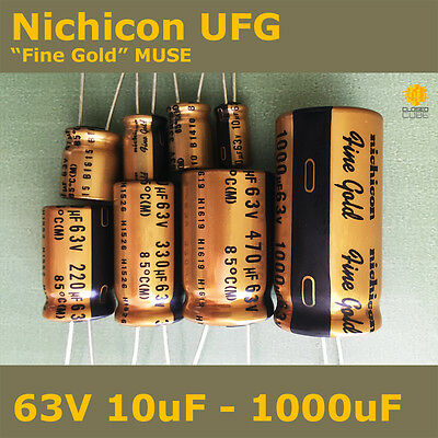 "Nichicon UFG FG ""Fine Gold"" MUSE High Grade for Audio [63V] Capacitors"
