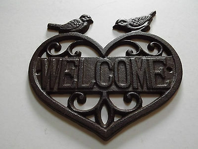 Rustic Cast Iron Welcome Wall Plaque Sign/Outdoor/Garden