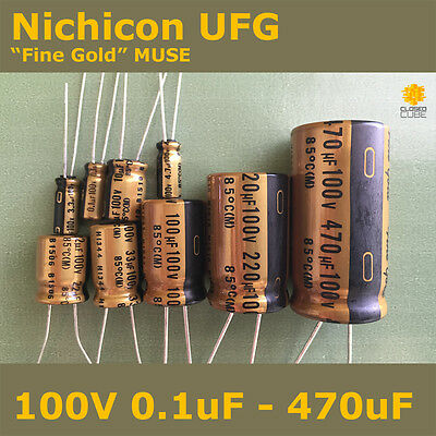 "Nichicon UFG FG ""Fine Gold"" MUSE High Grade for Audio [100V] Capacitors"