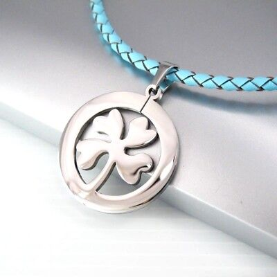 Silver Irish Celtic Lucky Four Leaf Clover Pendant Blue Braided Leather Necklace