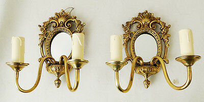 Antique French solid bronze pair of sconces Central mirror