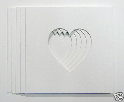 """Pack of 5 Heart Shaped Photo Mounts to Fit 10""""x10"""" frames"""