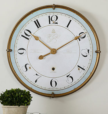 """Torriana Xxl 32"""" Antiqued Gold Metal Round Wall Clock Aged Ivory Face Urban"""