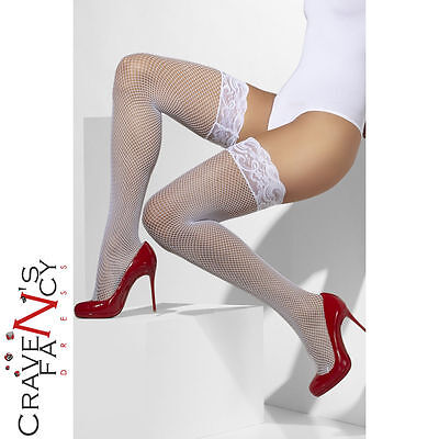 Sheer White Fishnet Lace Hold Ups Ladies Sexy Fancy Dress Costume Accessory New