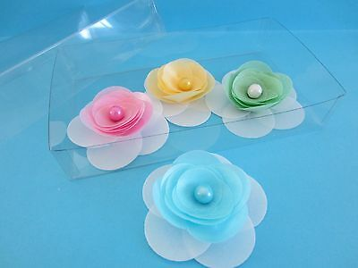 Edible Strawberry Wafer 3D Flower - Wedding Cake / Cupcake Decorations Set of 4