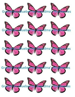 Edible Pink Butterfly Wedding Cake Toppers- Cake Decorations set of 15