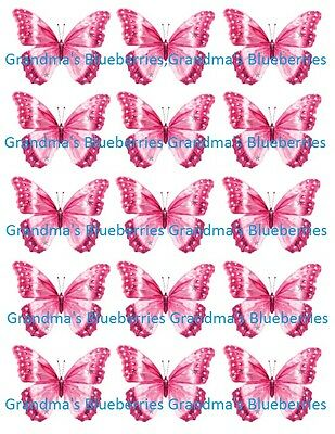 Edible Pink Sparkle Butterfly Wedding Cake Toppers- Cake Decorations set of 15