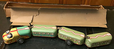 Vintage Snake Train Tin Toy with Movable Eyes Action, Original Box, Antique