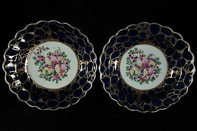 Scarce Pair of 18th C. Spotted Fruit Worcester Dessert Plates